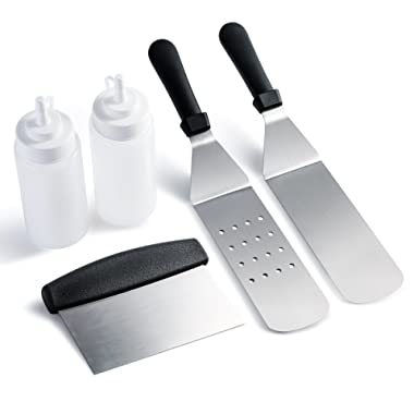 Owlike Blackstone Griddle Accessories Griddle Spatula Kit Tool Set, Griddle Cooking Set- 2 Spatulas 1 Chopper Scrapper and 2 Bottles, for Kitchen Flat Top Outdoor Griddle Cooking Camping Tailgating