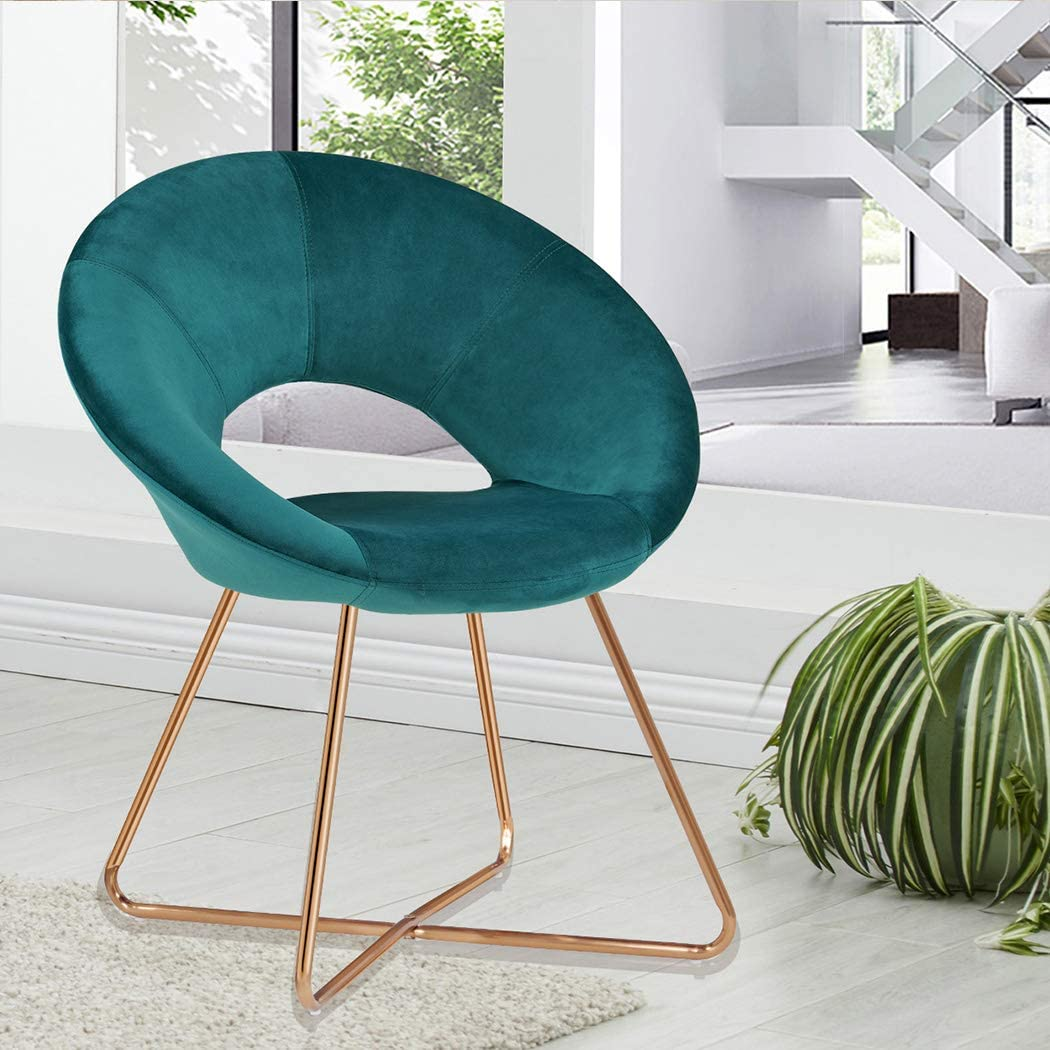 Accent Chairs with Arms,Mid Century Modern Chair Duhome Elegant Velvet Club Chair and The Modern Golden Metal Frame Legs Home Kitchen Furniture 1pcs
