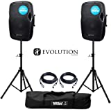 """Evolution Audio RZ12A V3 Active 2000W 12"""" DJ Disco PA Speaker (Pair) with Stands"""