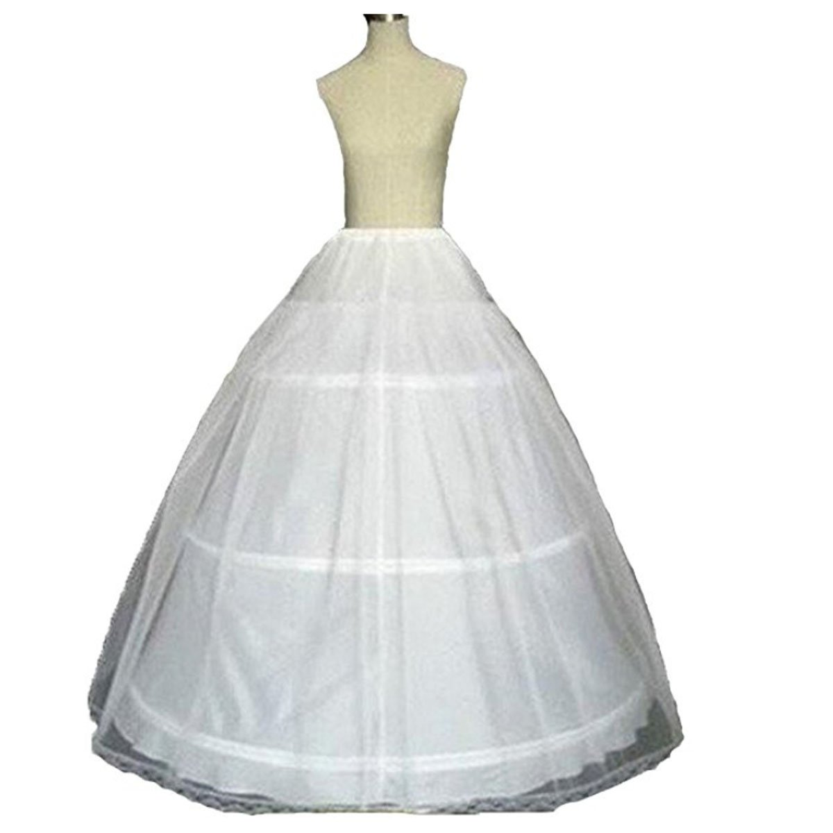 TC Bride Women's 3 Hoop Ball Gown Full Crinoline Petticoat Underskirt Slips For Wedding Dress (White, Samll)