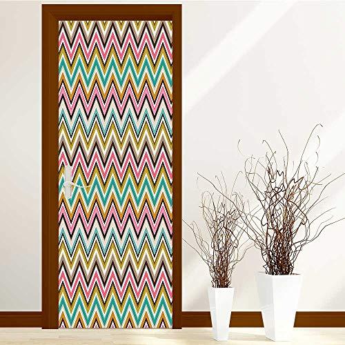 AmaPark New Art Decor Home Creative Triangle Stipes Border LikePrint Privacy Protection W38.5 x H77 inch by AmaPark