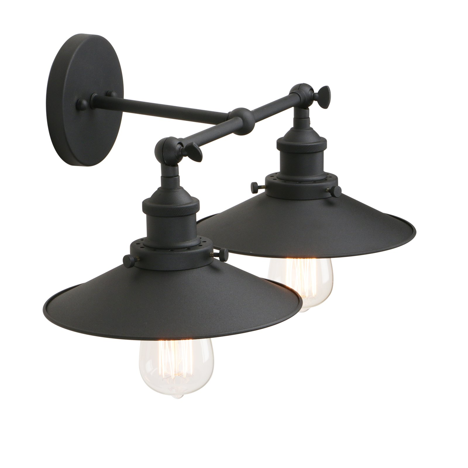 Pathson Industrial Wall Sconce with Vintage Style, 2-Light Bathroom Light Fixtures, Mid Century Lamps for Living Room, Brushed Antique Finished (Black) by Pathson