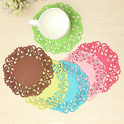 Silicone Coaster Nonslip Cup Mat Cushion Holder Drink Placemat (Random: Color)