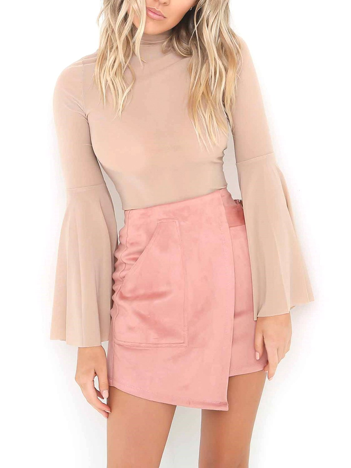 Simplee Women's Faux Suede Irregular High Waist Bodycon Mini Skirt With Pocket, Pink, 4/6, Small