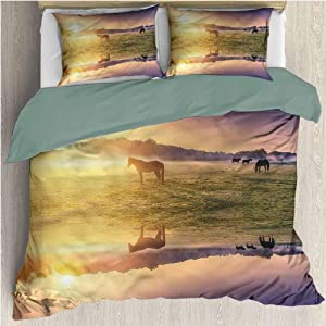 HELLOLEON Nature 3-Pack (1 Duvet Cover and 2 Pillowcases) Bedding Horse Valley with Lake Polyester (Full)