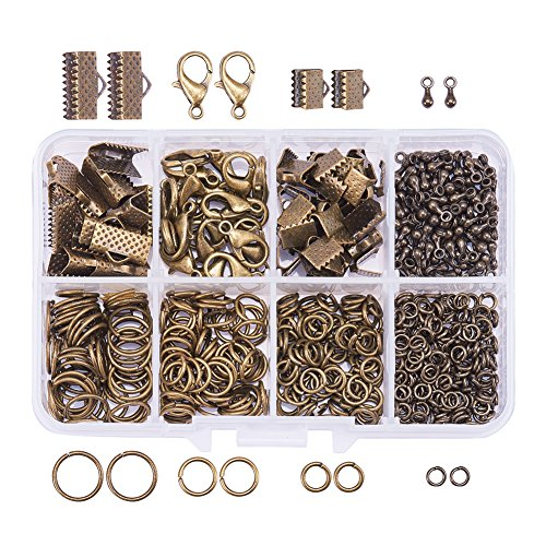 PandaHall Elite About 610 Pcs Jewelry Finding Kits 8 Styles with Ribbon Clamp End, Jump Ring, Lobster Claw Clasps, Drop Ends Pieces for Jewelry Making Antique Bronze