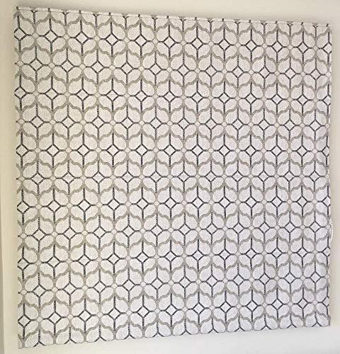 Flat Roman Shade - Gibbs Scroll geometric grey pattern on light background. Faux linen roman shade with chain mechanism. Custom made ()
