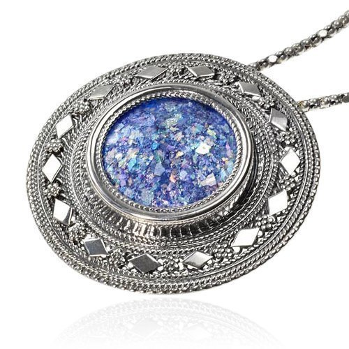 Sterling Silver Roman Glass Filigree Large Round Pendant Necklace & Pin Brooch