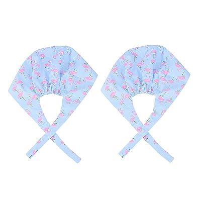 JANOU 2pcs Flamingo Printed Nurse Hats Adjustable Cartoon Scrub Cap Elastic Strap Cotton Operating Room Doctor Work Cap Blue: Clothing