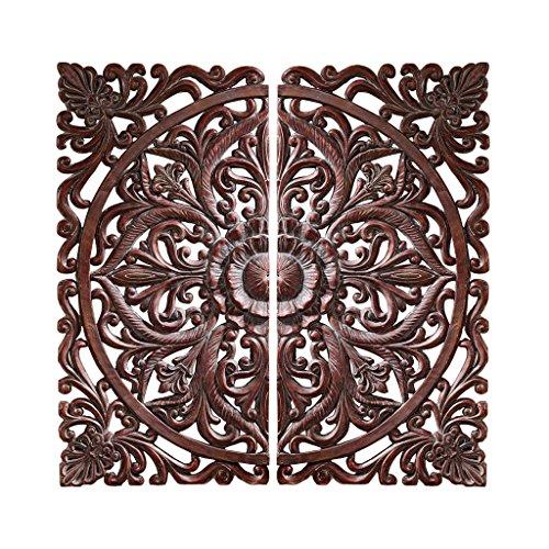 Rosette Design Wall Decor (Design Toscano Carved Rosette Architectural Wall Sculpture, Walnut)