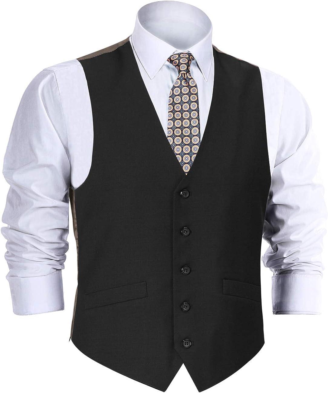 CHAMA Men's Suit Vest, Formal Suit Wool Vest for Men Business Vest Dress Vest Waistcoat 5 Button Regular Fit