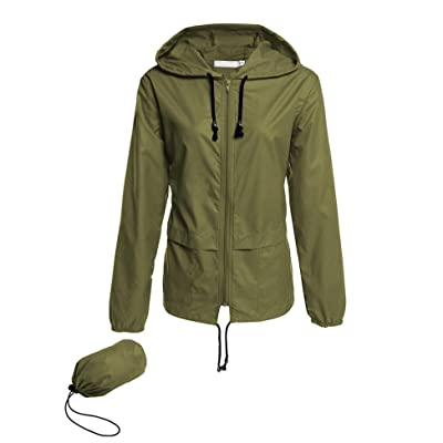 Avoogue Raincoat Women Lightweight Waterproof Rain Jackets Packable Outdoor Hooded Windbreaker: Clothing