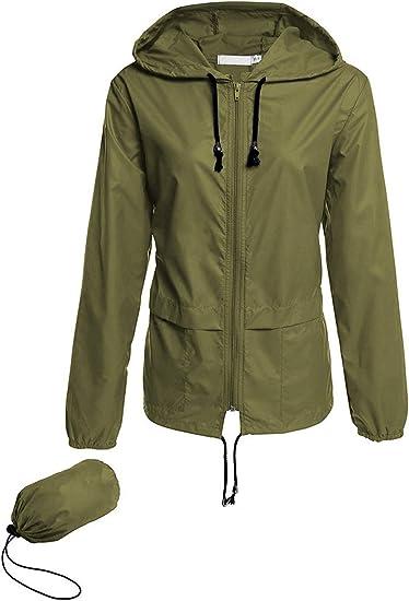 Women Outdoor Coat Waterproof Lightweight Windbreaker Raincoat Hooded Jacket L
