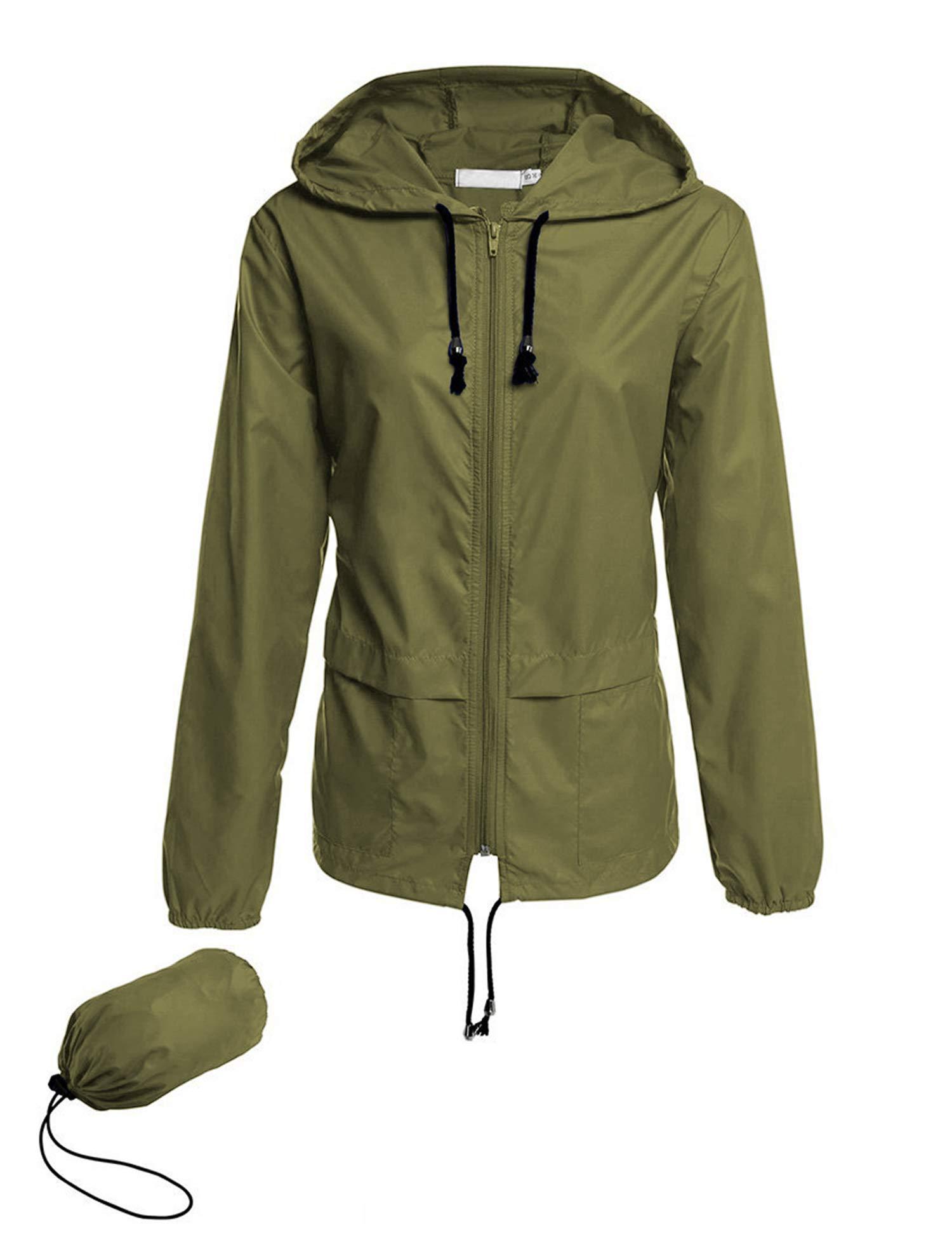 Avoogue Raincoat Women Lightweight Waterproof Rain Jackets Packable Outdoor Hooded Windbreaker