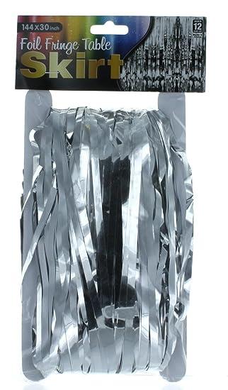 Rhode Island Falda de Mesa con Flecos Plateados metálicos, de 144 ...
