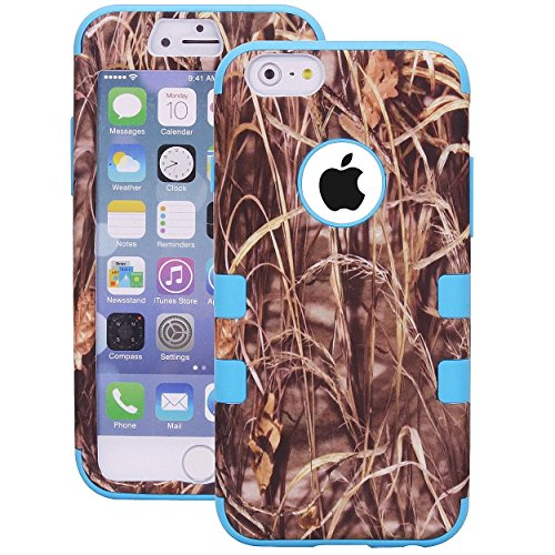 Tech Express (Tm) i6+ Blue Trim Grass Mossy Oak Tree Real Camo Camoflauge Redneck Real Southern Pride Hunter Hunting Tough Defender 3 Piece Hard Cover Case for Apple iPhone 6+ / 6 Plus 5.5