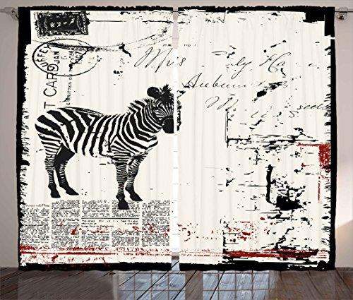 Ambesonne Grunge Decor Curtains, Modern Textured African Safari Animal Zebra on Retro Typographic Background, Living Room Bedroom Window Drapes 2 Panel Set, 108W X 63L inches, Black Cream ()