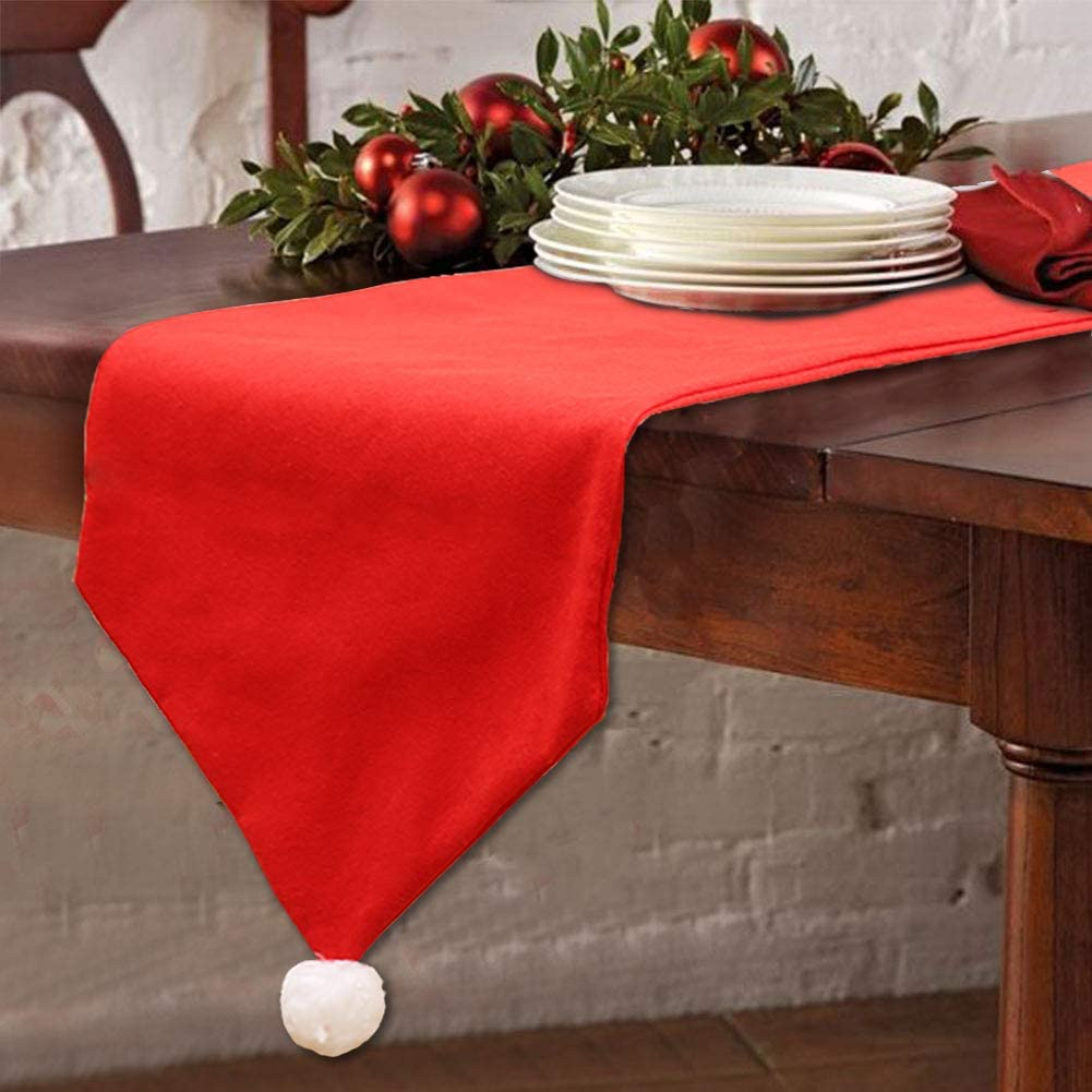 T-Antrix Christmas Table Runners Washable Classic Christmas Table Lines with Snow Balls Decor for Xmas Holiday Season Home Table Christmas Decoration 14x 70 Inch