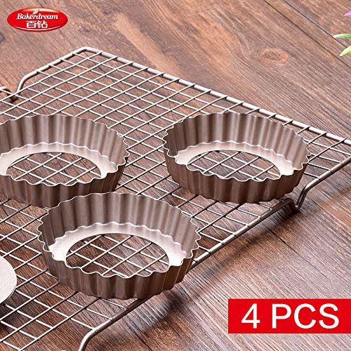 1 combo 4pcs/Lot Bakerdream 3.6 Inch Carbon Steel Tart Pan Nonstick Tart Tin with Removable Base Quiche Pan Cake Mold Round Pie Pan