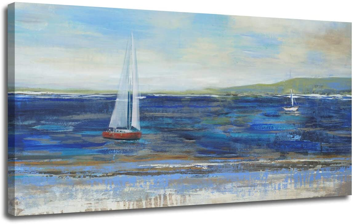 "Ardemy Canvas Wall Art Blue Abstract Seascape Painting Large Size One Panel Picture Prints, Modern Landscape Sail Boat in Ocean Artwork Framed for Living Room Bedroom Home Office Decor 40""x20"""