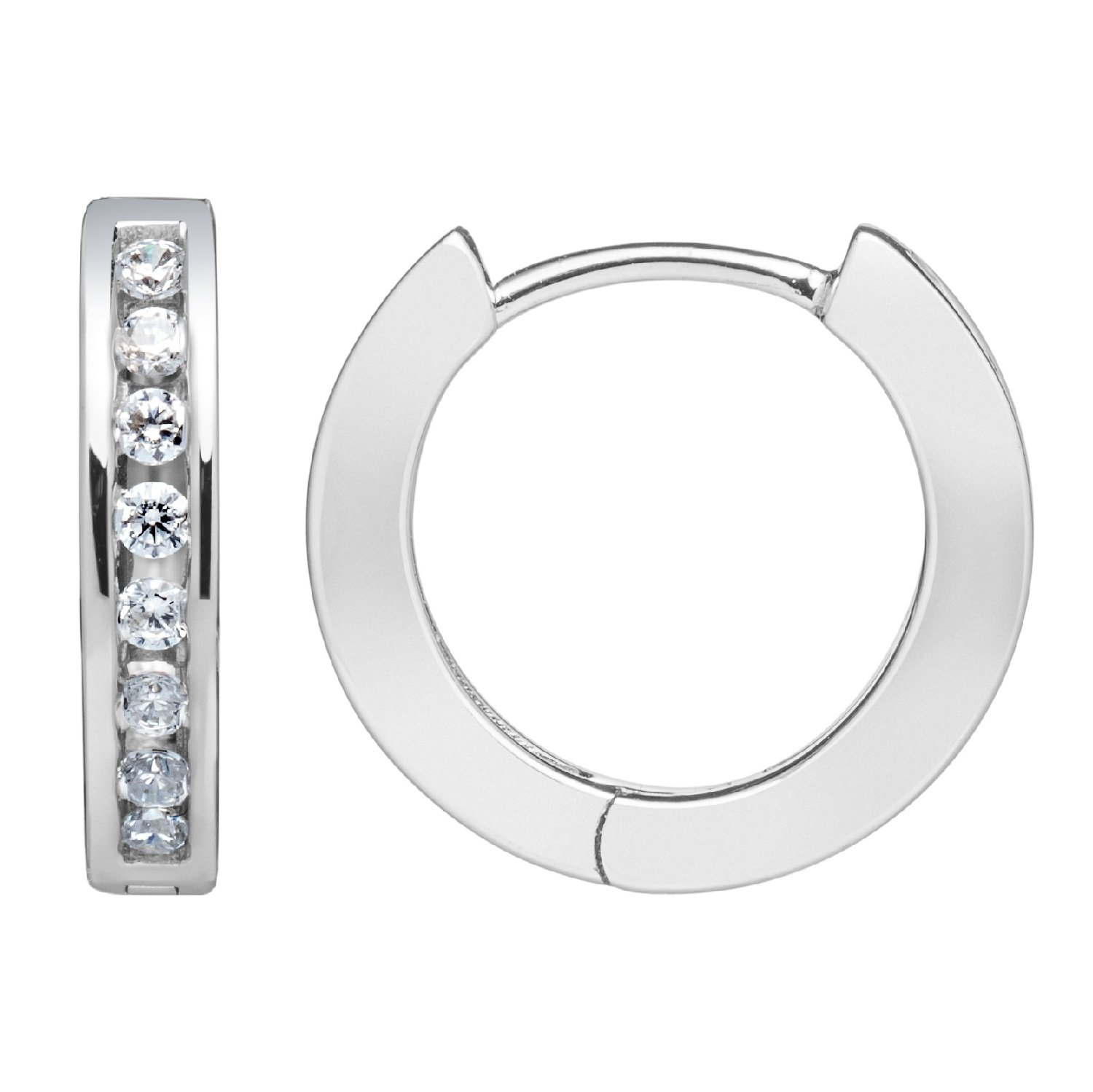 14K Solid White Gold Round Cut Huggie Hoop Channel Set Cubic Zirconia Earrings 13.5mm (.16 ctw, Diamond Equivalent), Gift Box