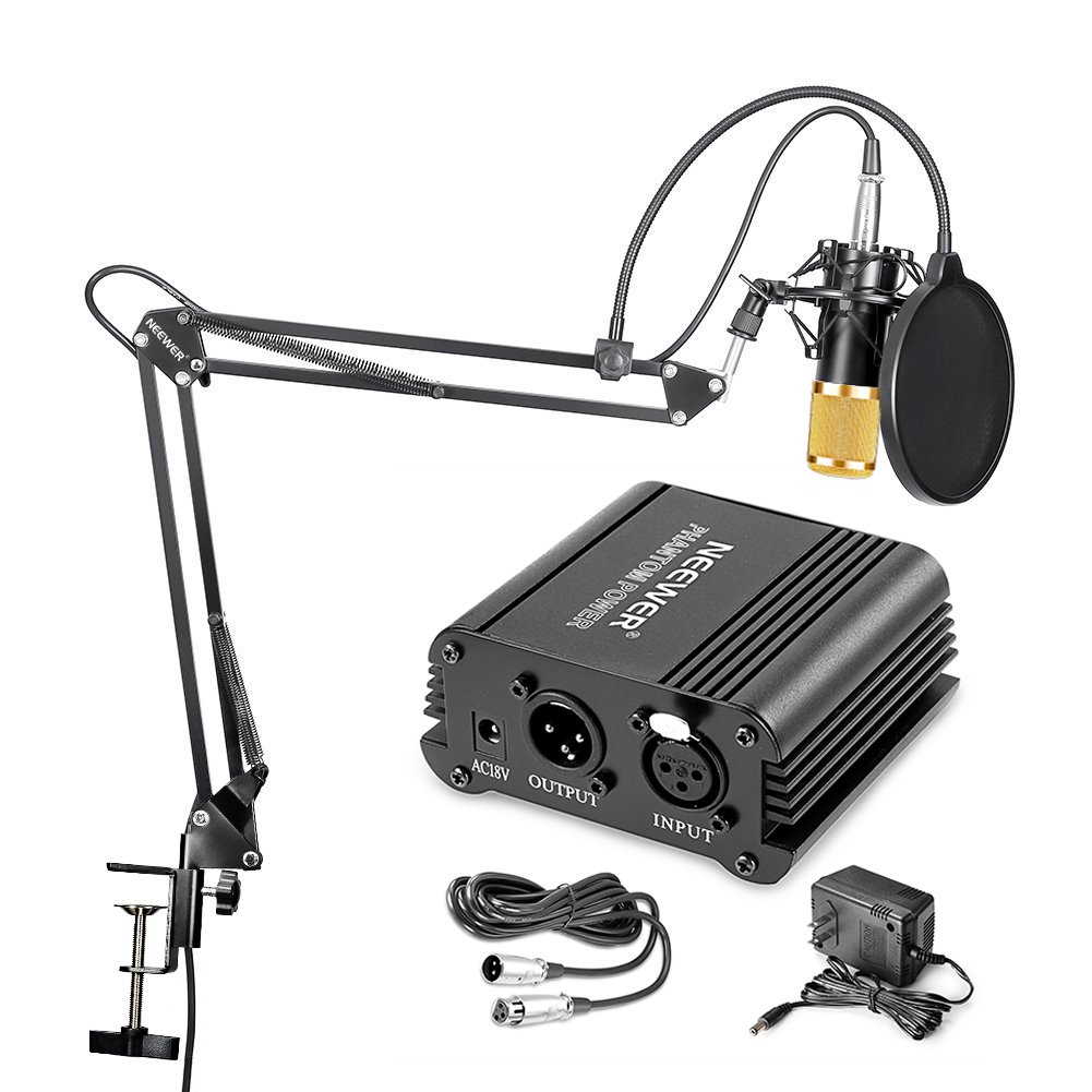 Neewer® NW-800 Condenser Microphone (Gold) + Suspension Boom Scissor Arm Stand+ Mounting Clamp+ Pop Filter+ 48V Phantom Power Supply 90088584@@##1