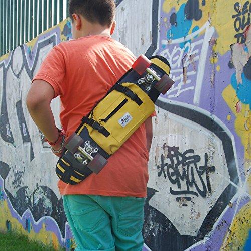 """Borsa a tracolla per 22"""" skateboard as penny, zaino, marsupio, giallo"""