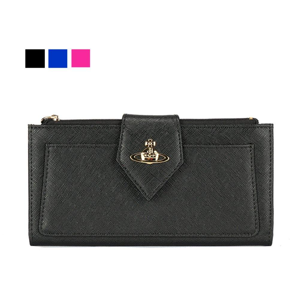 Vivienne Westwood ヴィヴィアン ウエストウッド 財布 ブラウンファスナー 長財布   レディース ウォレット ブランド 人気 [並行輸入品] 2色 66906 B07811C2GX ブラック ブラック