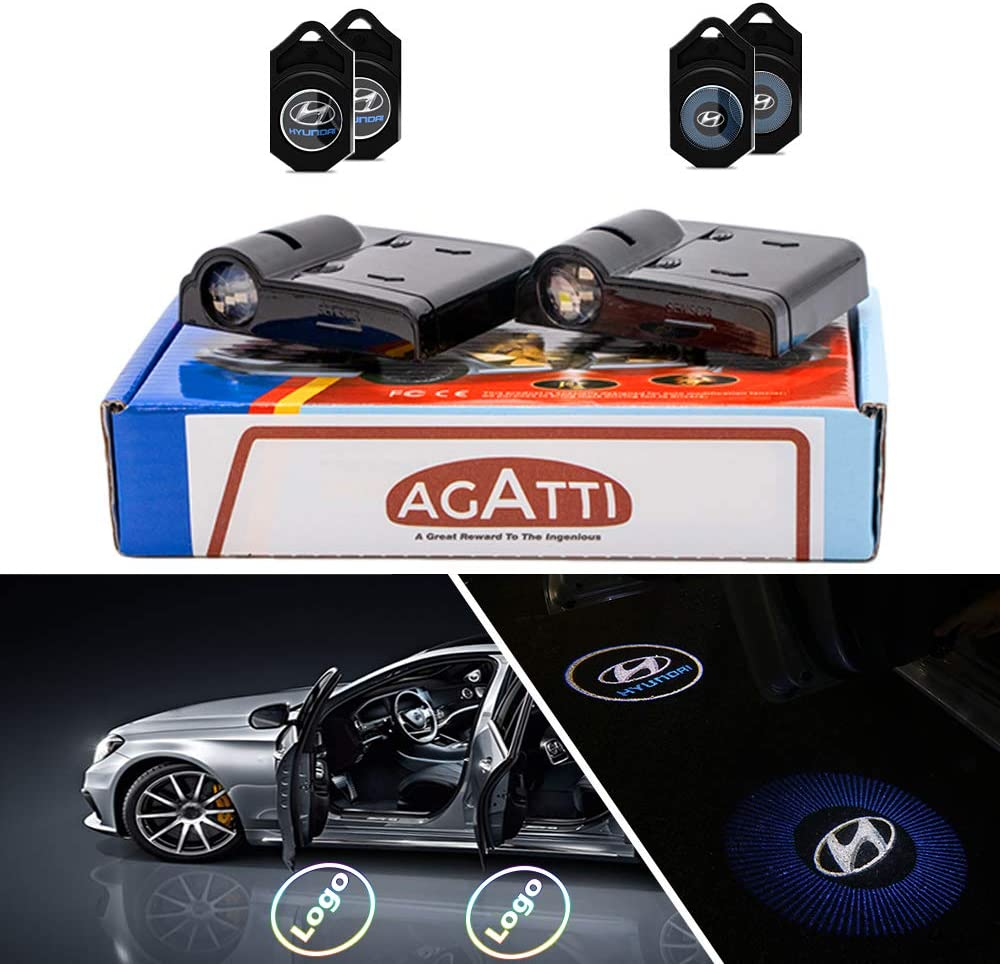 Wireless Adhesive Cool Car LED Underglow Light with Bright Projection AGATTI Car Door Projector Light Kit For TRUMP 2020 Pack of 2PCS