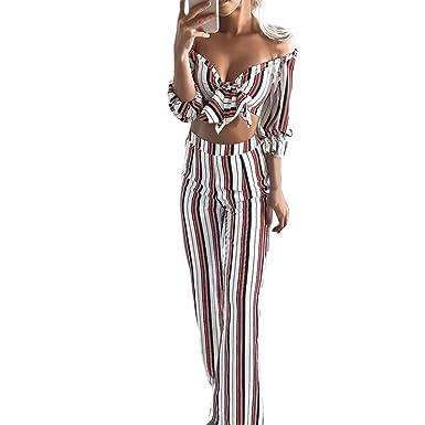 Bekleidung,Trada Womens Long Sleeve Stripe Shirt Bluse + lange Hosen  zweiteilige Outfit Sommerkleid Sexy 872117a54f