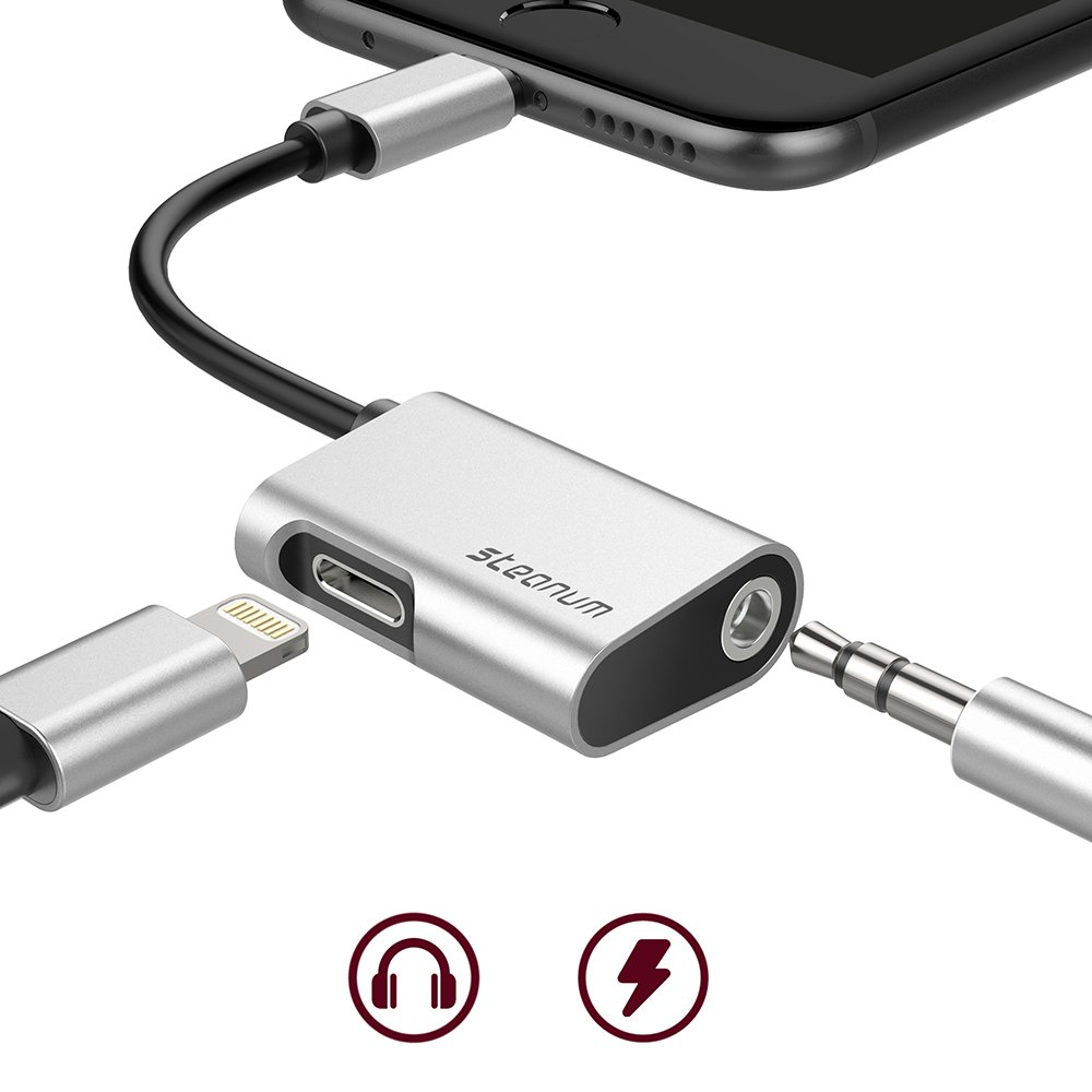 2 in 1 Lightning Adapter iPhone 8/8 Plus, iPhone X, iPhone 7/7 Plus, Steanum Lightning to 3.5mm AUX Headphone Jack Splitter Cable (Audio + Charge) Support iOS 11 - Silver