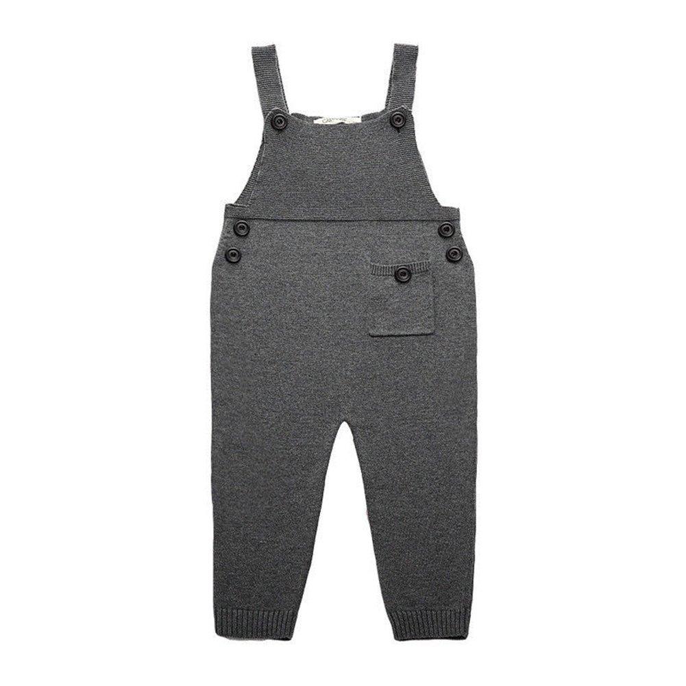 M/ädchen Jungen Baumwolle Overall Jeans mit Kn/öpfen 1-5 Jahre Braun Baby Kinder Latzhose