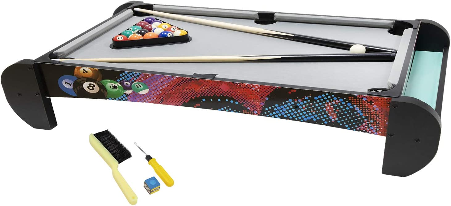 Pool Table/Kids Billiard Tabletop Games- Portable Kids Pool Table Games Set, Billiard Table Top Games for Kids or Adults