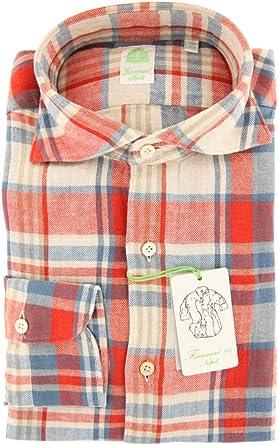 Finamore Napoli Plaid Button Down Cutaway Collar Cotton Extra Slim Fit Dress Shirt