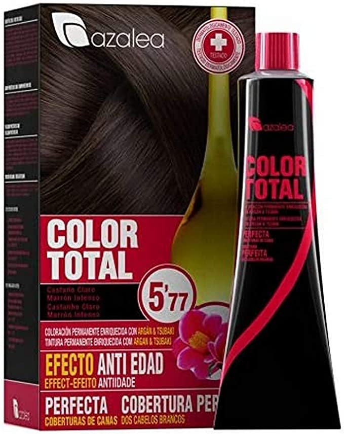 Azalea Total Tinte Capilar Permanente, Color Castaño Claro Marrón Intenso - 224 gr