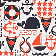 White maritime fabric sailing ship anchor Michael Miller (per 0.5m unit)