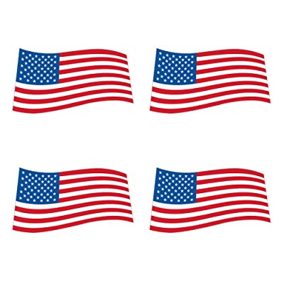 dealzEpic - Flying/Waving USA Flag Sticker - Self Adhesive Peel and Stick Vinyl Decal - 3.94 x 2.17 inches | Pack of 4 Pcs : Office Products