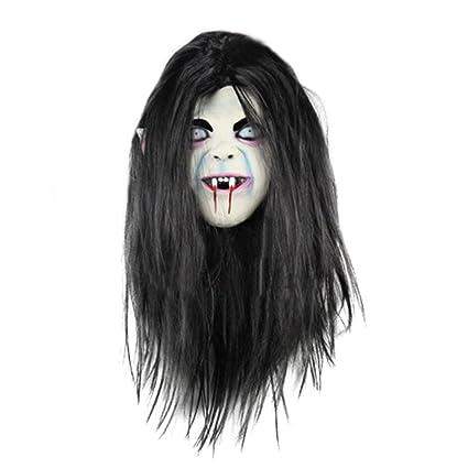 Carcasa de látex chendongdong nuevo diseño de chica con melena Halloween diseño de fantasmas de máscaras