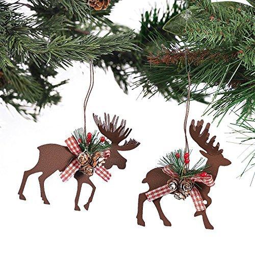 Christmas Deer Ornament (Metal Die Cut Moose & Deer Christmas Ornaments - (6 Pcs./set) 3 1/2
