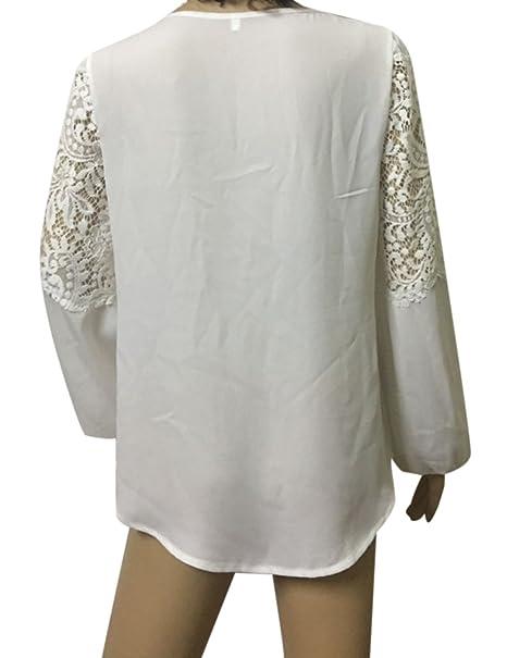 Amazon.com: Cibeat Las mujeres sueltan el cuello redondo de manga larga camisa de gasa de encaje con estilo base camisa Tops regalo: Clothing