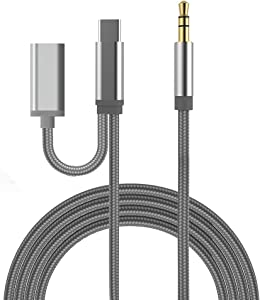 USB-C to 3.5mm Headphone Jack and PD Charging Adapter, RVOKOMS Type-C to Aux Audio and Charger Adapter, for Stereo, Headset, Speaker, Compatible with Galaxy S20/Note10, Pixel 3/4, i-Pad Pro 2018/2020