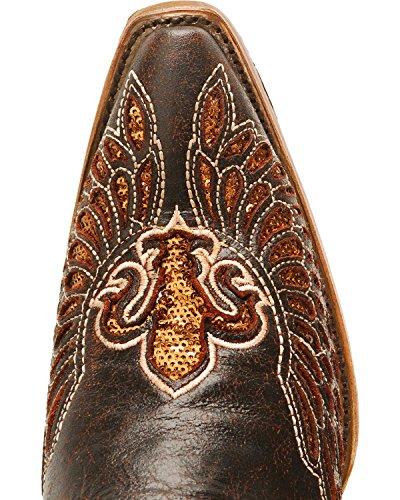 Corral Kvinna Fleur-de-lis Inlägg Nödställda Cowgirl Boot Klipp Tå - R2549 Brun