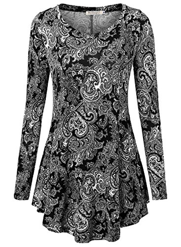 BAISHENGGT Women's Loose Fit Flared Tunic Top Large T06 (Flower Womens Dress Jumper)