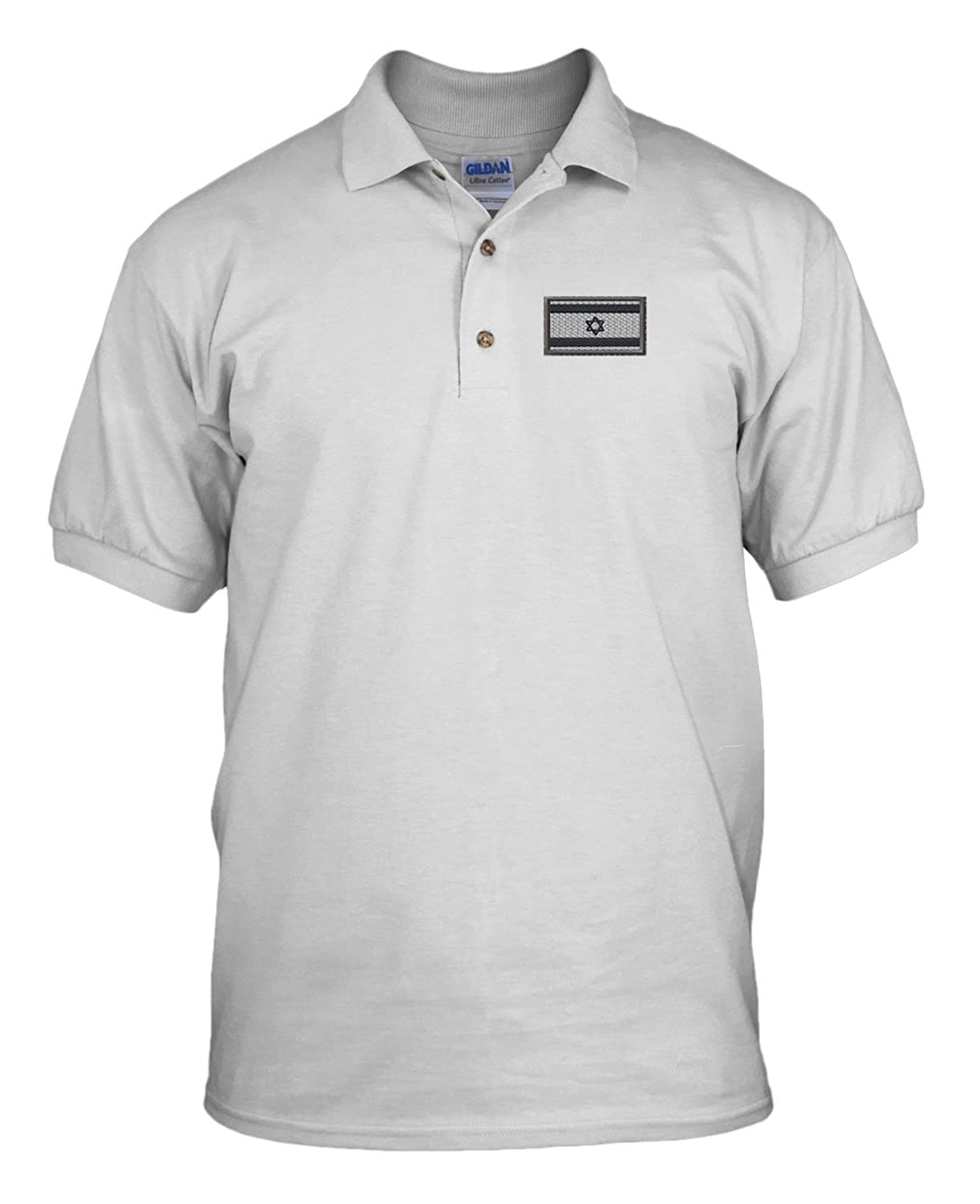 b1cf511c25843d Amazon.com  Israel White White Flag Embroidery Embroidered 100% Cotton Polo  Shirt Top White 3X-Large  Clothing