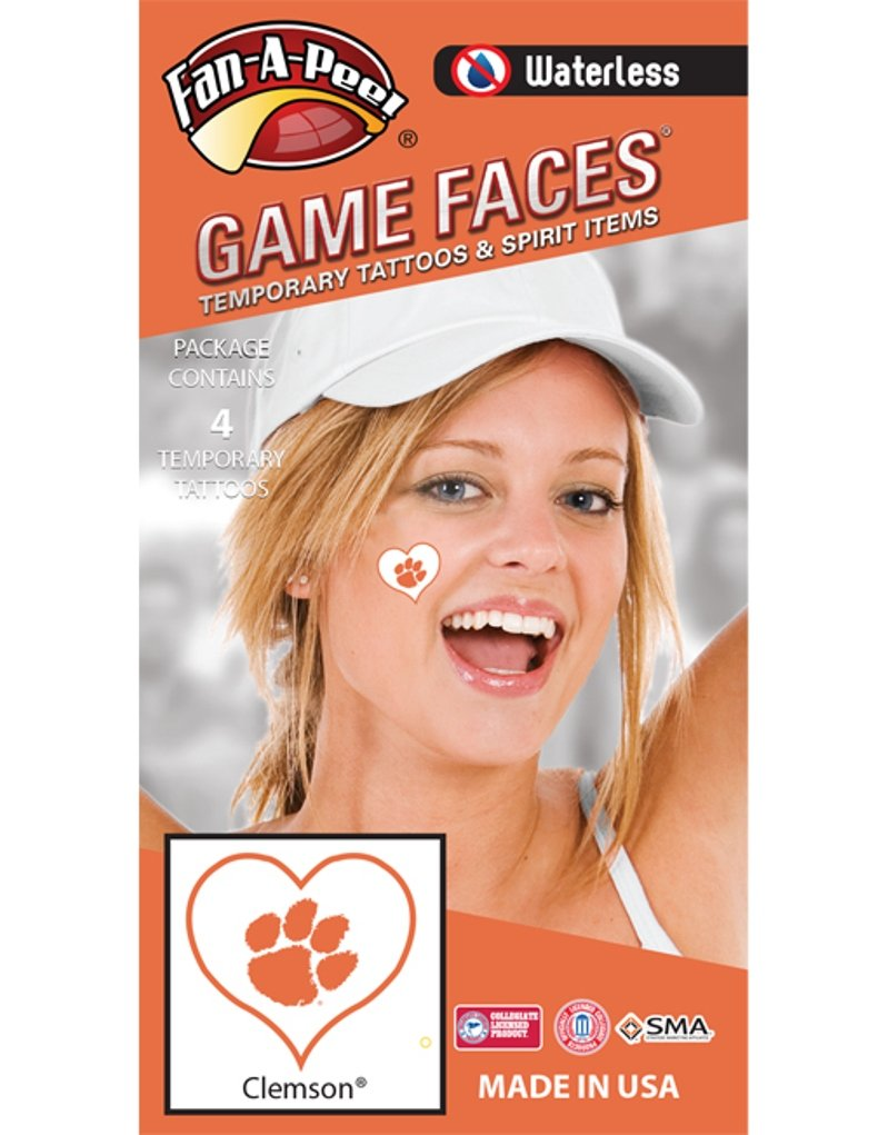 Clemson University Tigers – Waterless Peel Stick Temporary Spirit Tattoos – 4 Piece – Orange Tiger Paw Print Logo in Heart