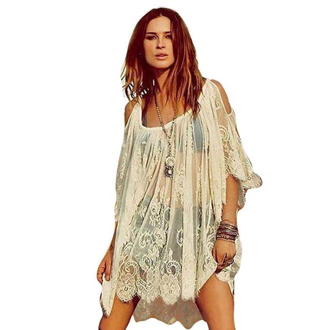 VJGOAL Moda de Las Mujeres de la Vendimia Hippie Bohemia Hermosa Bordado Floral Sexy Encaje Crochet