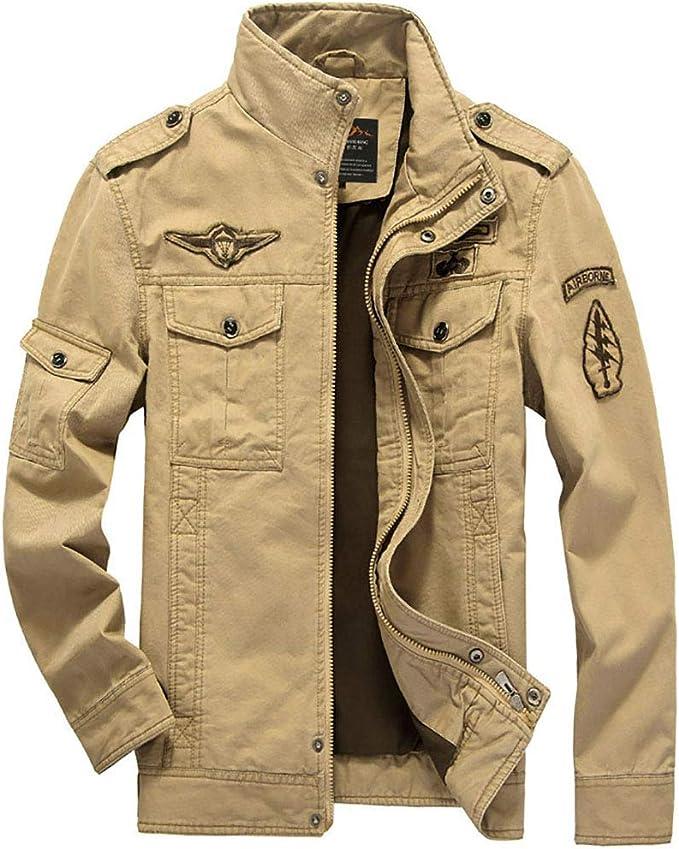 メンズジャケット、スタンドカラーミリタリージャケットコート、メンズカジュアルライトウェイトフルジップミリタリージャケット