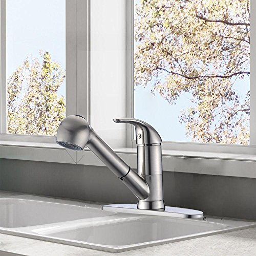 Khrodis Pull Out Bathroom Sink Faucet/Pull Out Sprayer Kitchen Sink Faucet with Deck Mounted Plate Hole Cover 3 Holes Bathroom Sink Faucet on sales