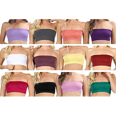 12-Pack 7-Inch Solid Seamless Bandues Tube Bra (One Size, Black, Ash Rose, Banana, Charcoa, Egg Plant, Fired Brick, Kelly Green, Lavender, White, Magenta, Muave, Purple) at Amazon Women's Clothing store