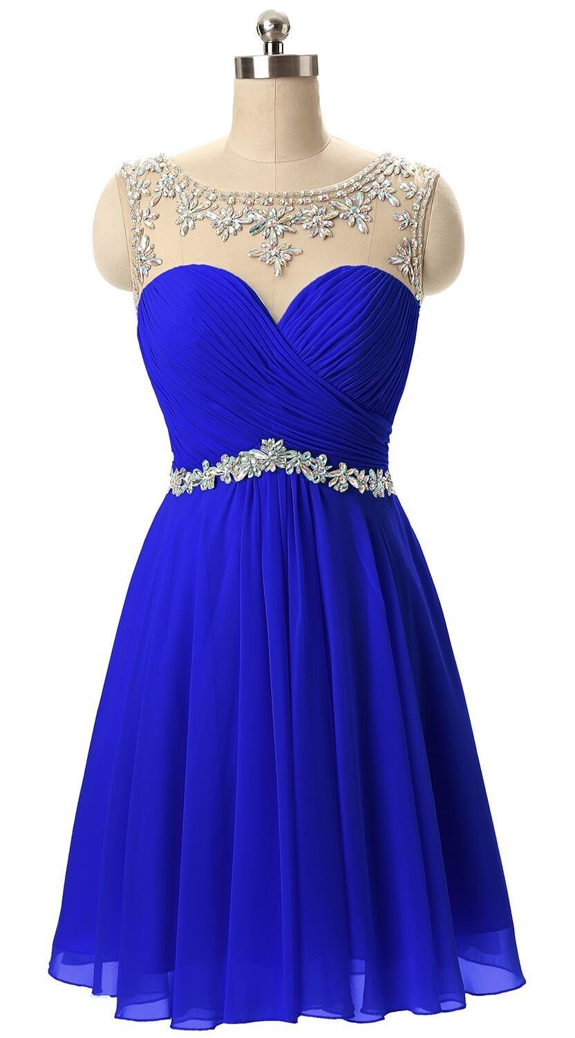 ca4298076dd2 Home/Brands/Butmoon/Butmoon Women's Beaded Homecoming Dresses Short Chiffon  Prom Dresses 2018 Royal Blue US10. ; 